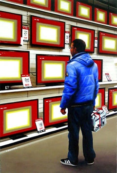 Flat Screens, Painting, Acrylic on Wood Panel