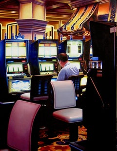 Las Vegas Slot Machines, Painting, Acrylic on Wood Panel