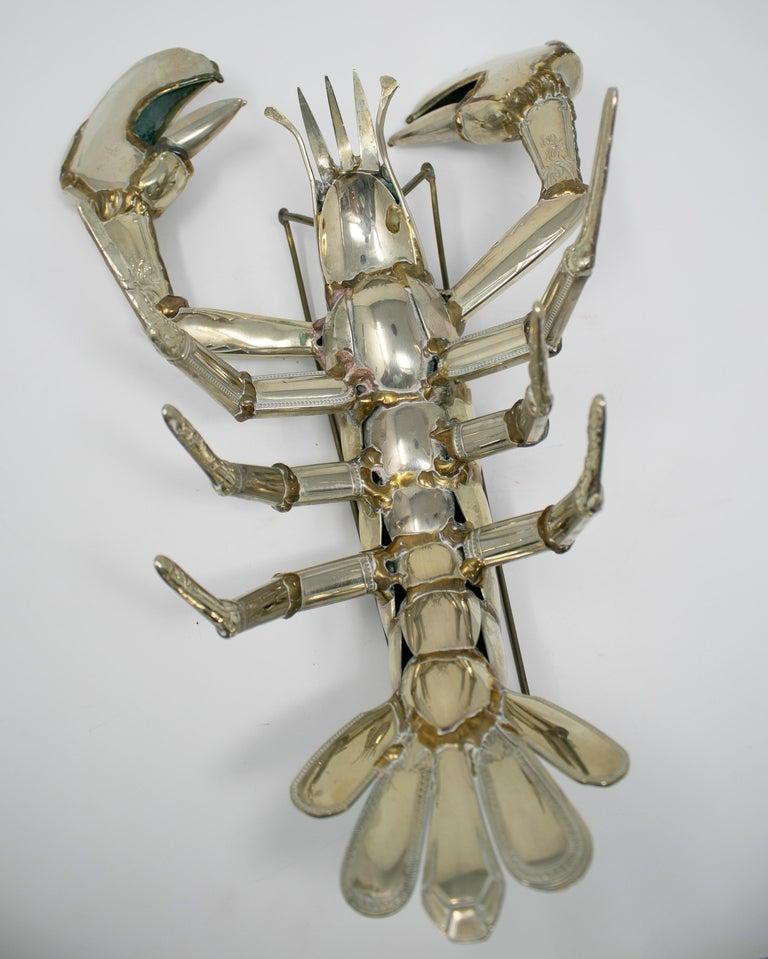 Gerard Bouvier Metal Cutlery Lobster Sculpture, circa 1970 For Sale 5