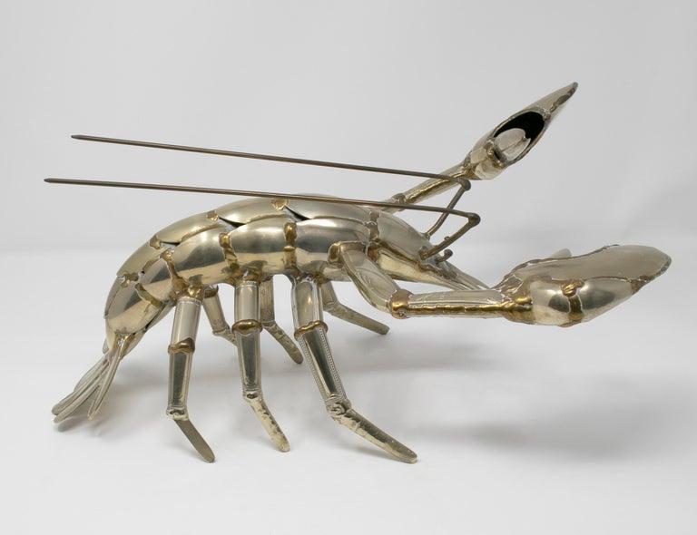 Gerard Bouvier metal cutlery sculpture of a lobster, circa 1970.