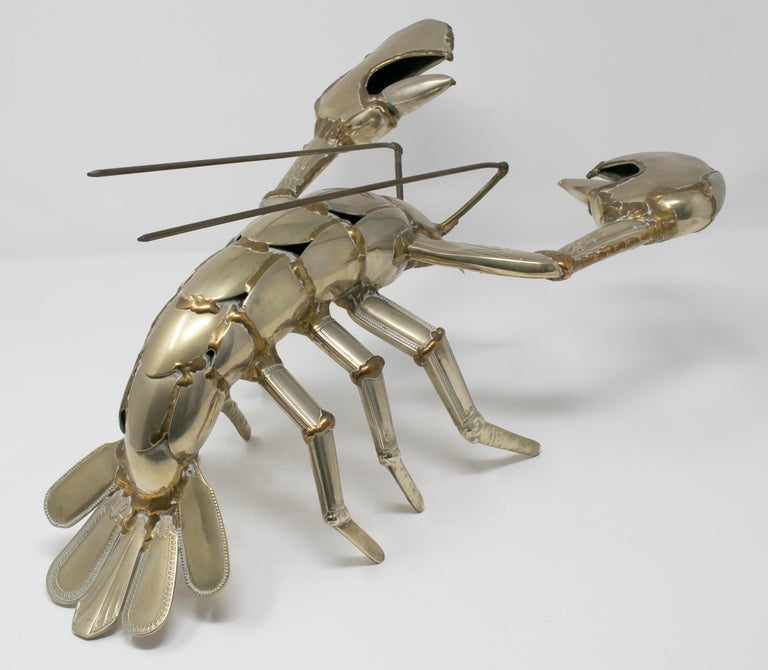 French Gerard Bouvier Metal Cutlery Lobster Sculpture, circa 1970 For Sale