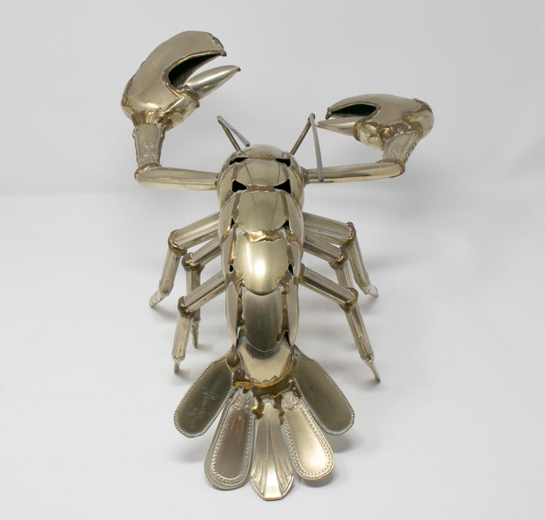 Gerard Bouvier Metal Cutlery Lobster Sculpture, circa 1970 In Good Condition In Malaga, ES