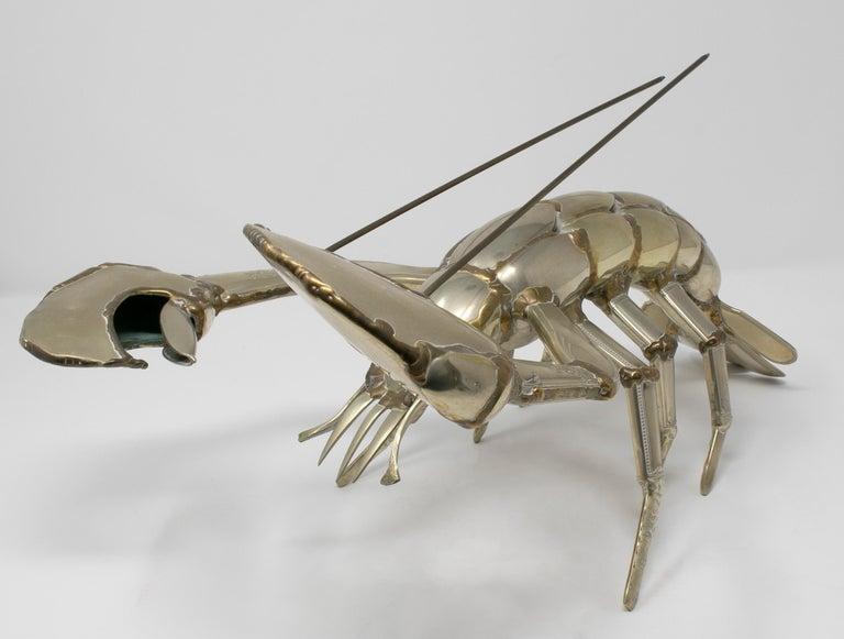 Gerard Bouvier Metal Cutlery Lobster Sculpture, circa 1970 1