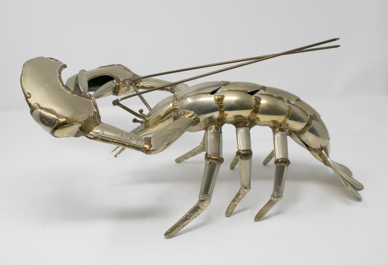 Gerard Bouvier Metal Cutlery Lobster Sculpture, circa 1970 2