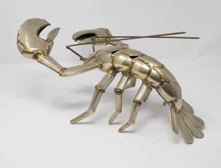 Gerard Bouvier Metal Cutlery Lobster Sculpture, circa 1970 For Sale 3