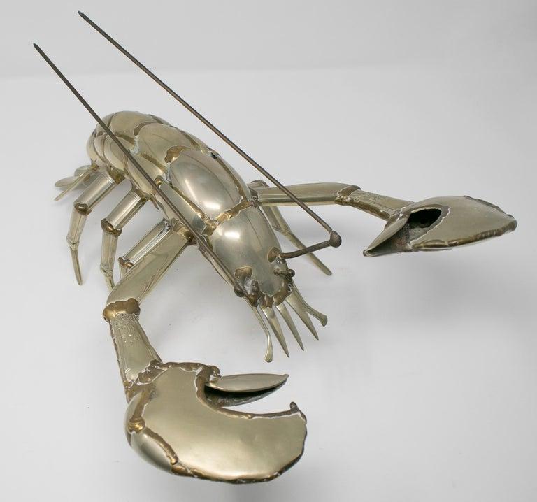 Gerard Bouvier Metal Cutlery Lobster Sculpture, circa 1970 4