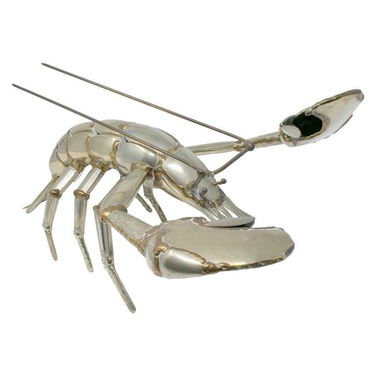 Gerard Bouvier Metal Cutlery Lobster Sculpture, circa 1970 For Sale