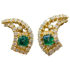 Gerard Cabochon Emerald and Diamond Gold Earrings