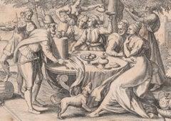 Prodigus - Original etching by Gerard de Jode - 1570