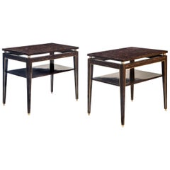 Gerard Feretti, Pair of Versatile Brass Mounted Palm Wood Tables