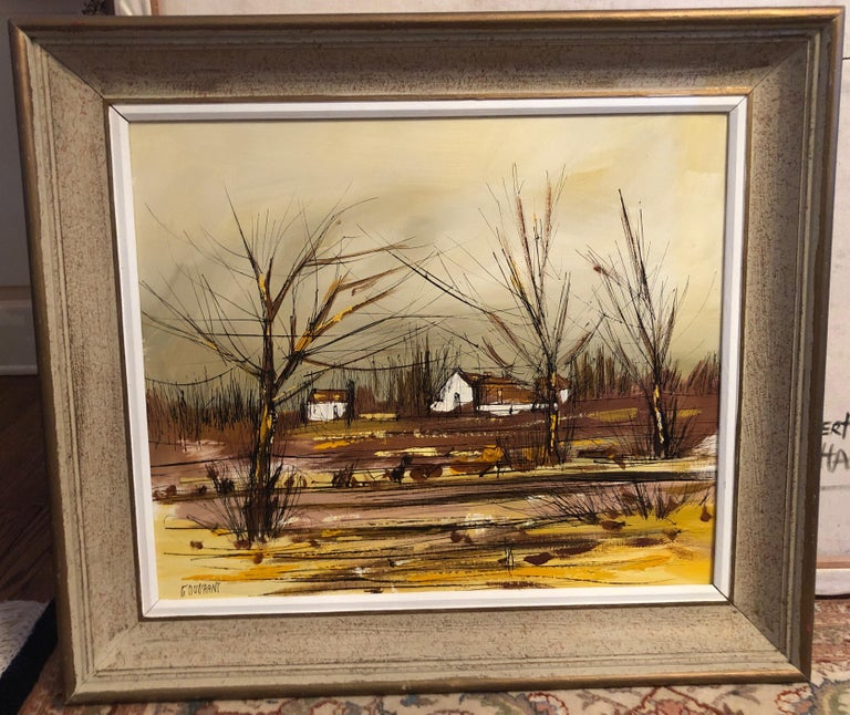Original landscape painting by Gerard Gouvrant, inscribed on the back