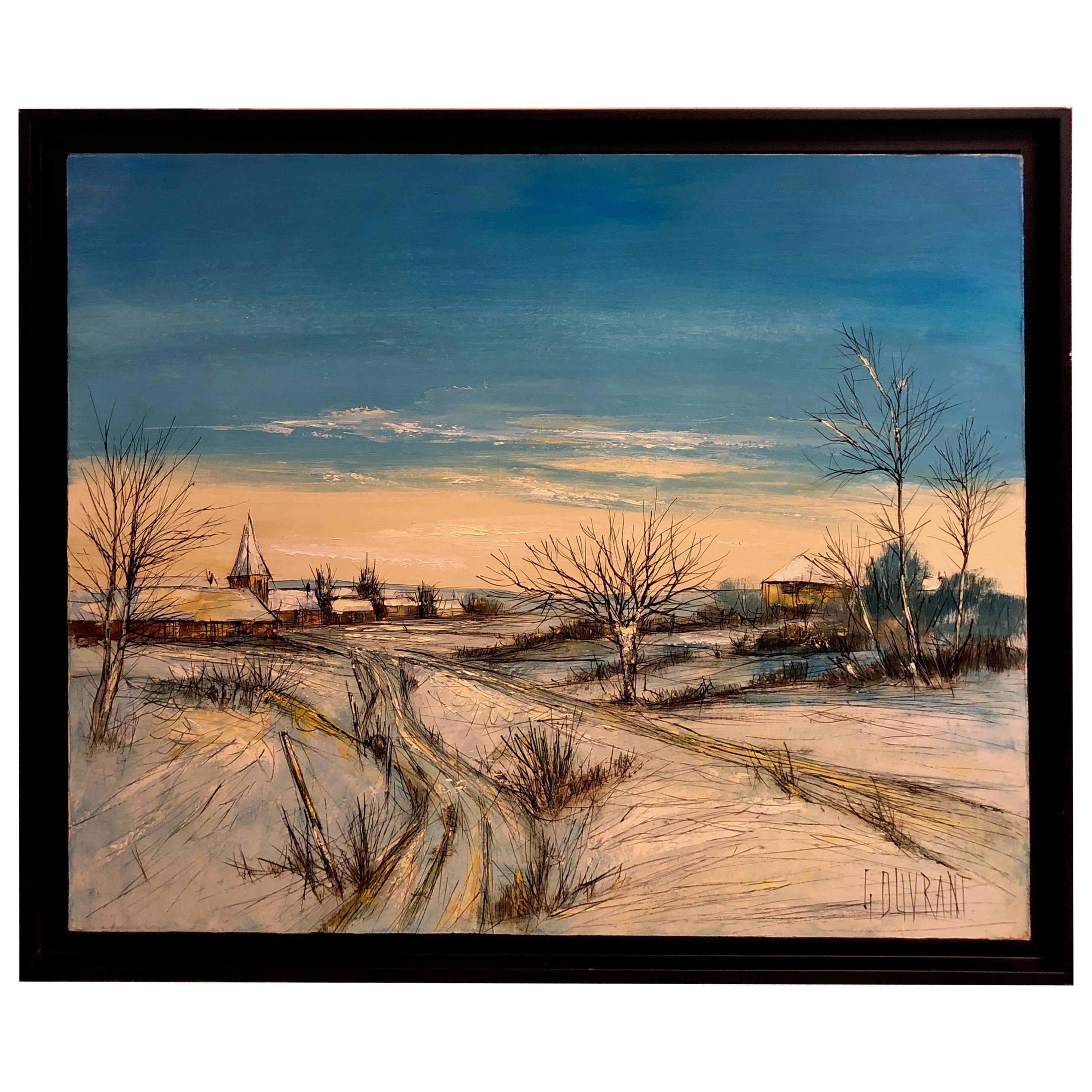 "Gerard Gouvrant, ""Village Enneige"" Painting"