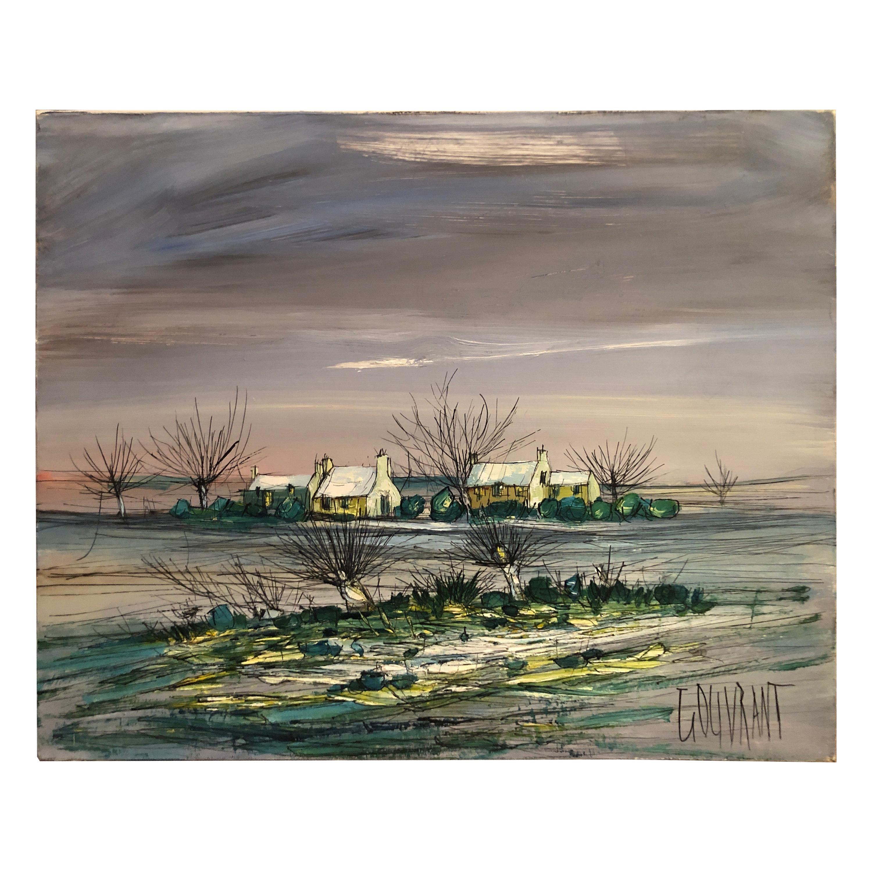 "Gerard Gouvrant, ""Winter Landscape"" Painting"