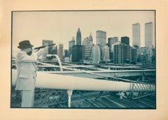 Vintage Signed Photograph William Burroughs Aims at Twin Towers from Brooklyn