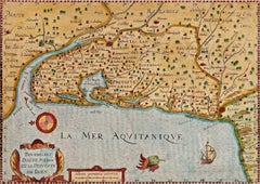 17th Century Hand-Colored Map of Bordeaux Region of France by Mercator/Hondius