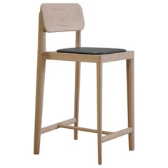 Gerard, Oak and Black Leather Stool