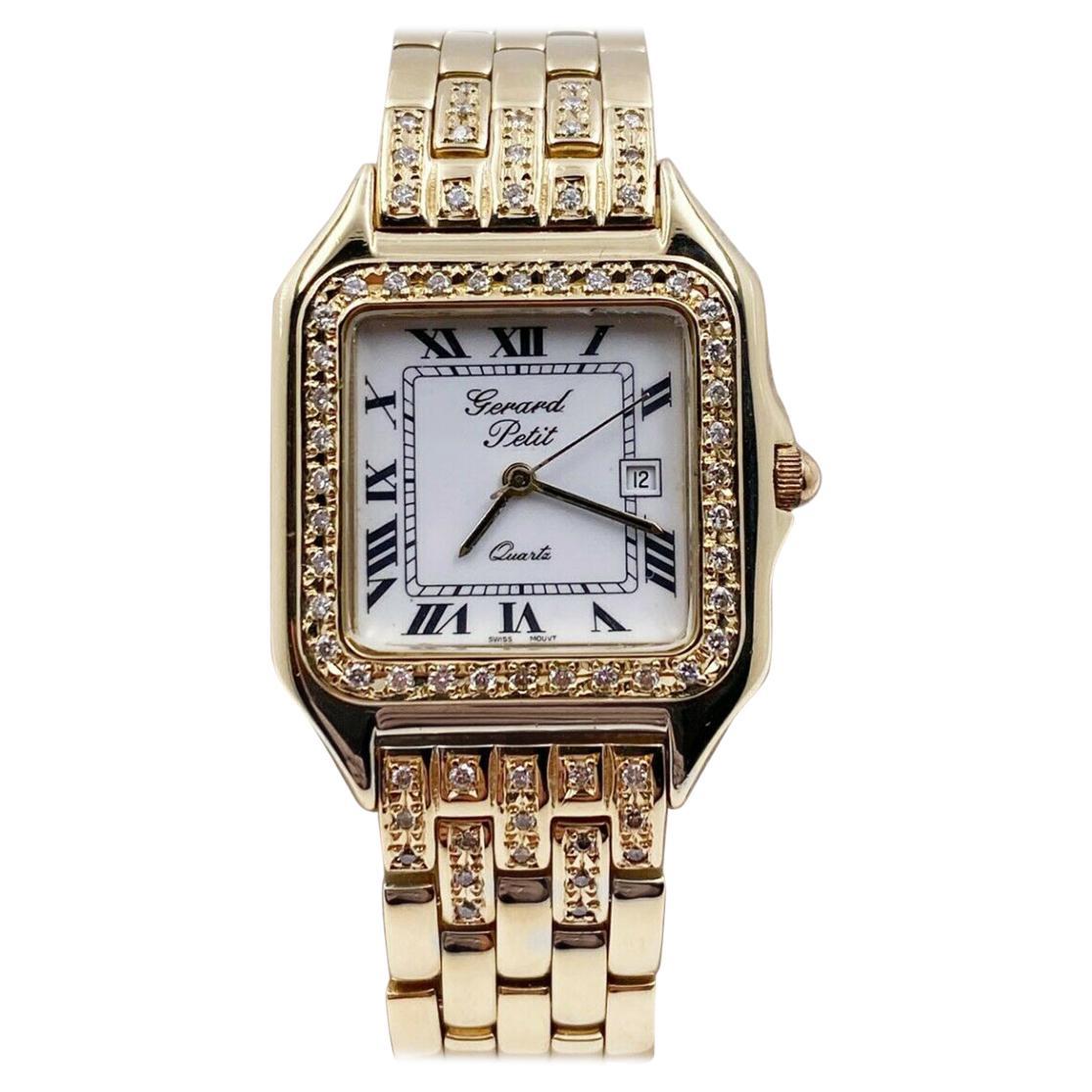 Gerard Petit Date 14 Karat Yellow Gold Diamond Bezel Diamond Accented