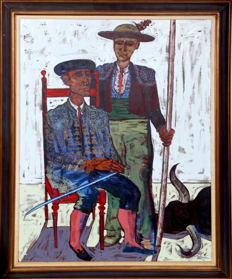Artist: Gerard Sebastian, Spanish (1930 - 1996) Title: Matadors Year: circa 1970 Medium: Oil on Canvas, signed l.r. Size: 48 in. x 36 in. (121.92 cm x 91.44 cm) Frame Size: 55 x 43 inches
