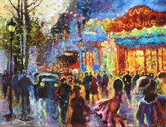 """""""Le Cafe Boheme de Paris"""", Gerard Valtier, Oil on Canvas, French, 29x36 in."""