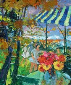 """Sous la Tonnelle"", Gerard Valtier, Oil/Canvas, French Impressionist, 29x24 in."