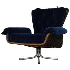 Gerard van den Berg Attributed Woven Rattan Lounge Chair