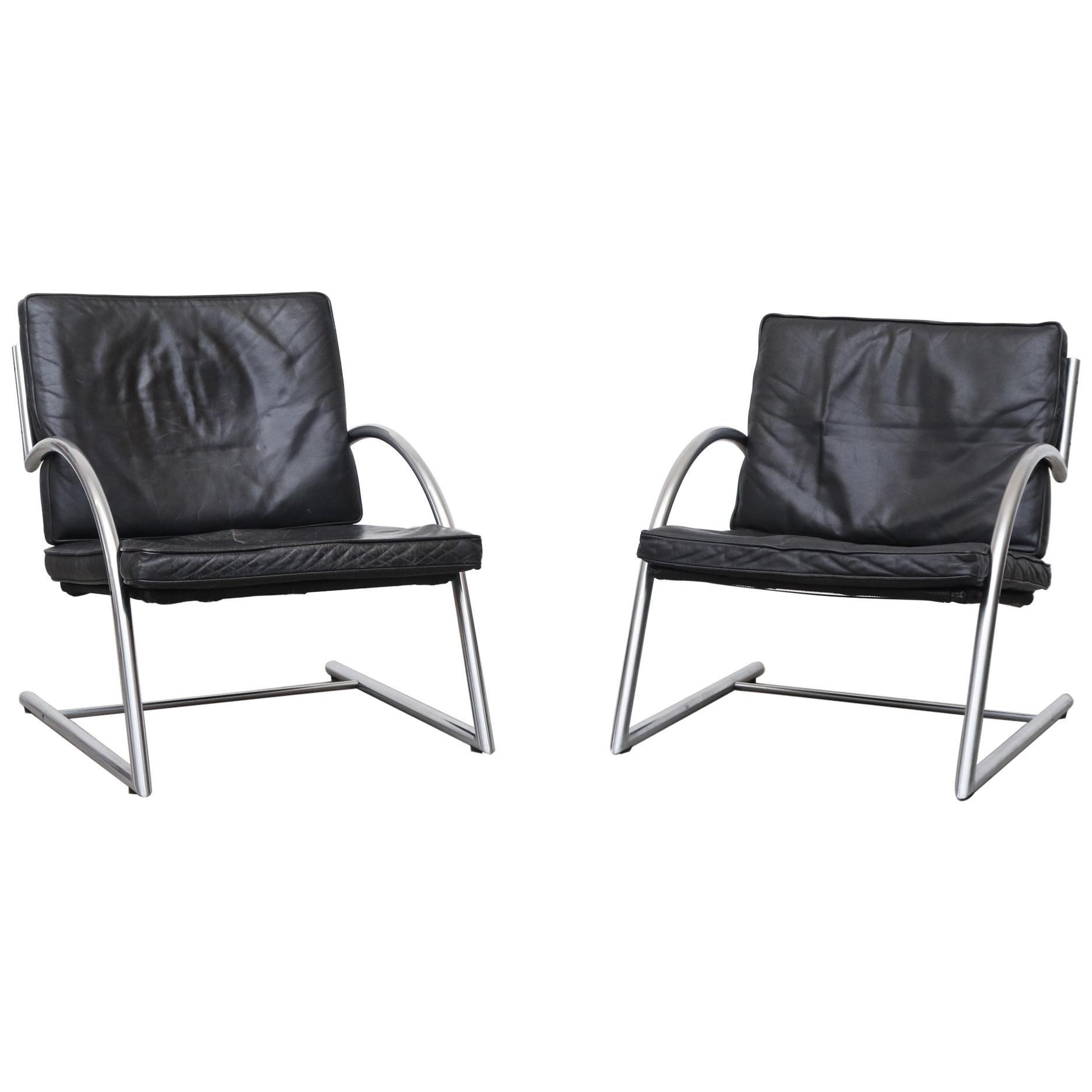 """Gerard Van Den Berg Cantilevered Black Leather """"Des"""" Lounge Chair"""