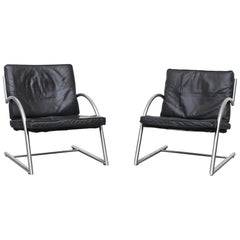 "Gerard Van Den Berg Cantilevered Black Leather ""Des"" Lounge Chair"
