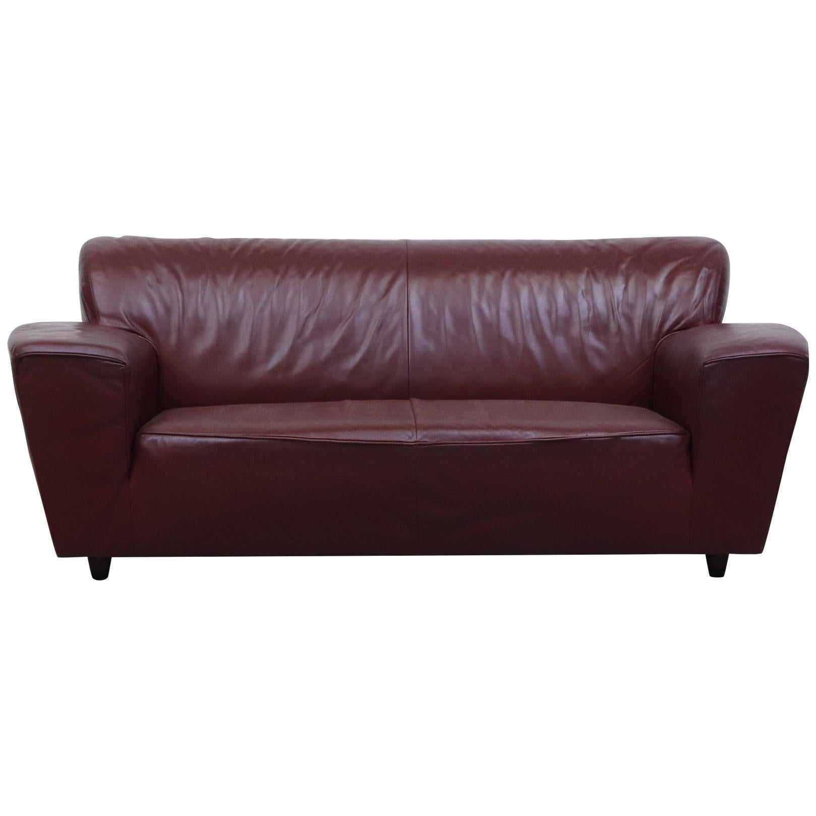 Gerard Van Den Berg 'Corvette' Sofa in Bordeaux Leather