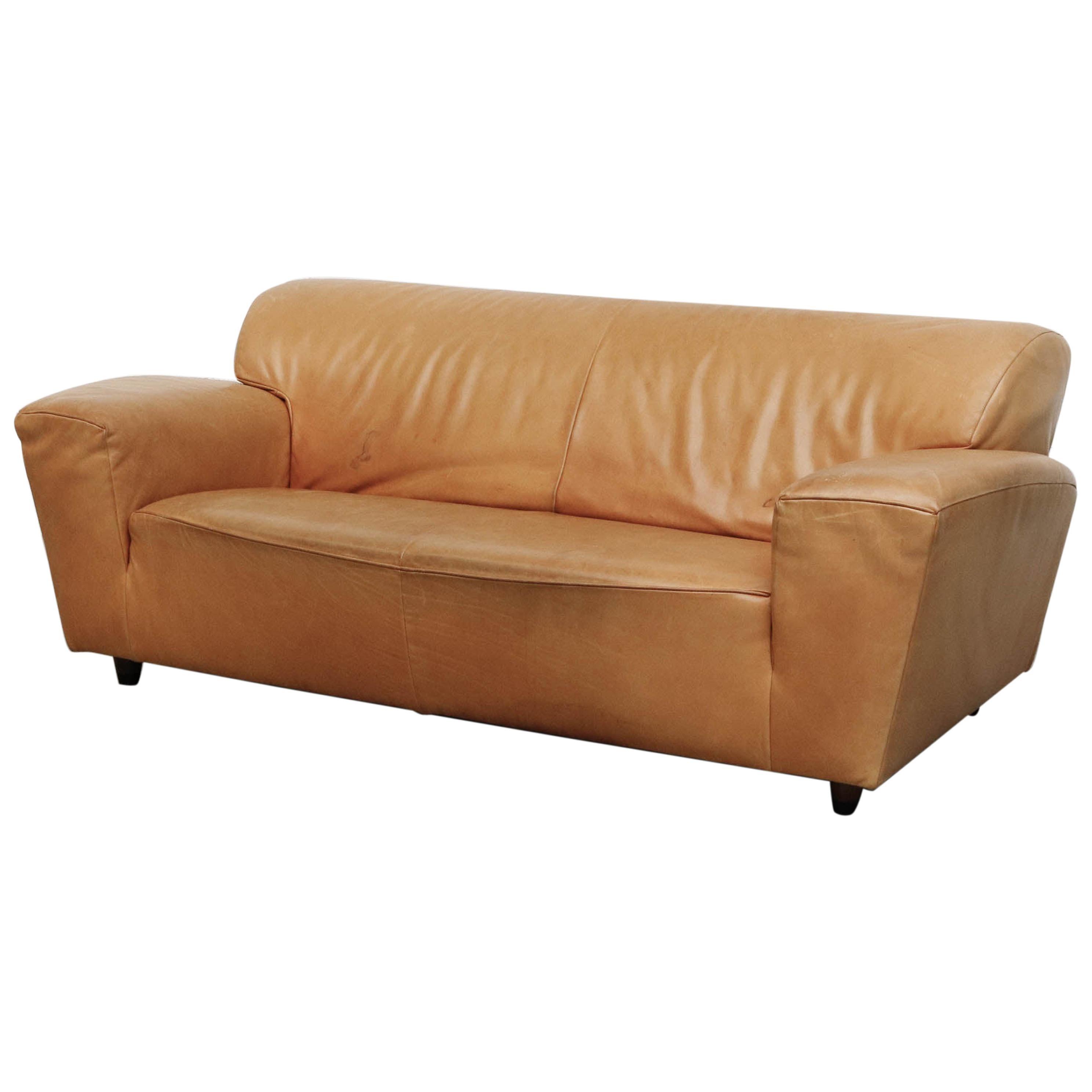 Gerard Van Den Berg 'Corvette' Sofa in Natural Leather
