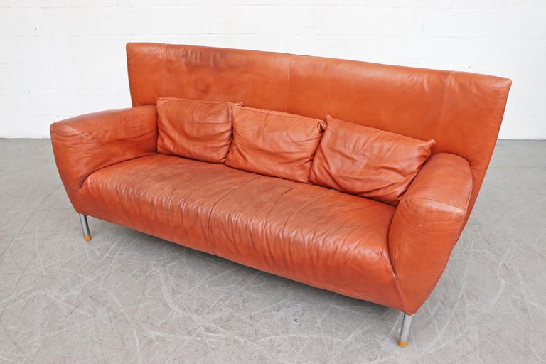 Gerard van den Berg for Montis Leather Sofa In Good Condition For Sale In Los Angeles, CA