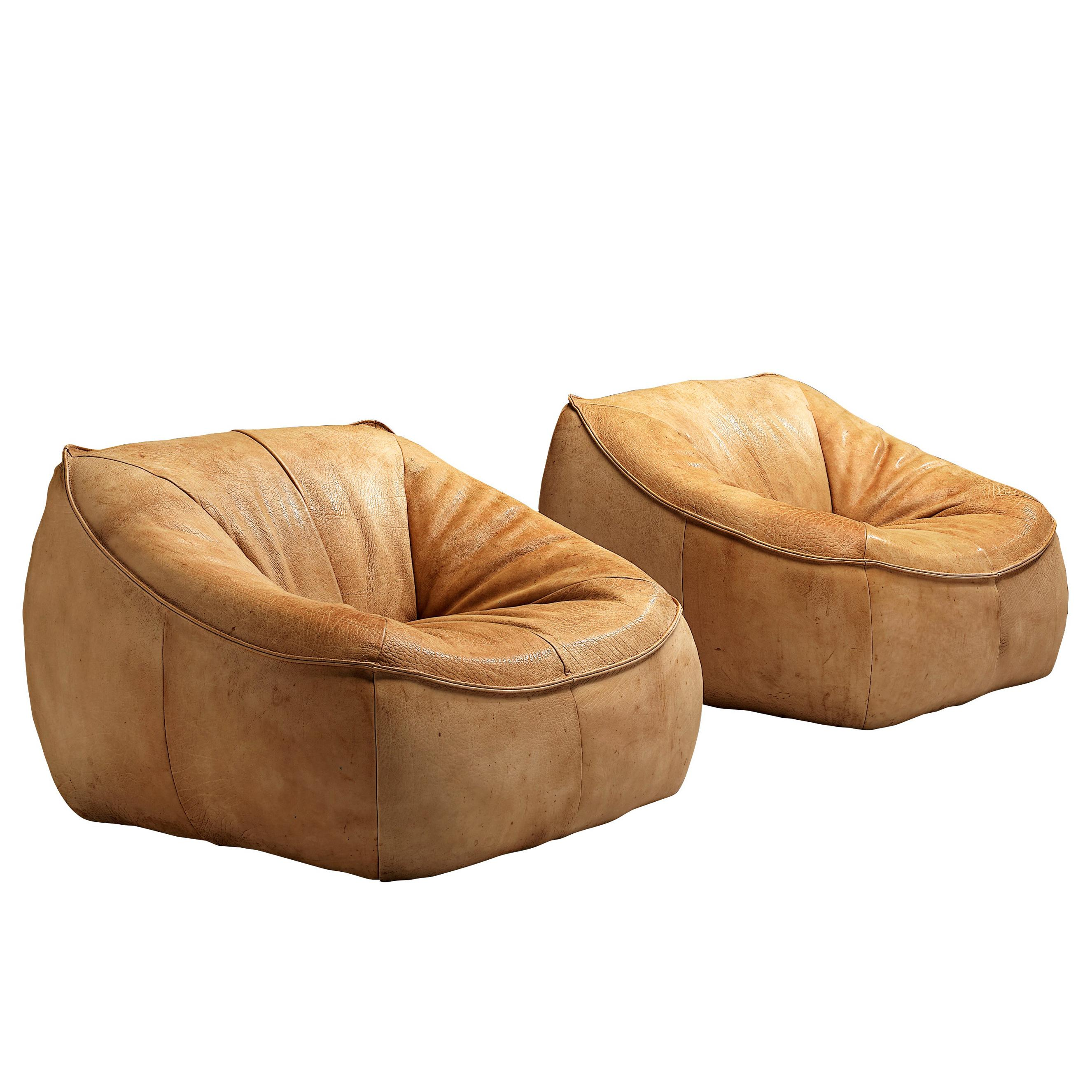 Gerard Van Den Berg for Montis Lounge Chairs Model 'Ringo' in Patinated Leather
