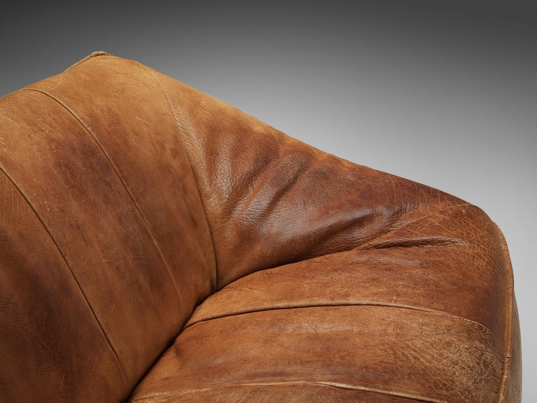 Mid-Century Modern Gerard Van Den Berg for Montis 'Ringo' Sofa in Patinated Leather For Sale