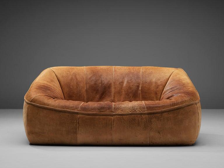 Dutch Gerard Van Den Berg for Montis 'Ringo' Sofa in Patinated Leather For Sale