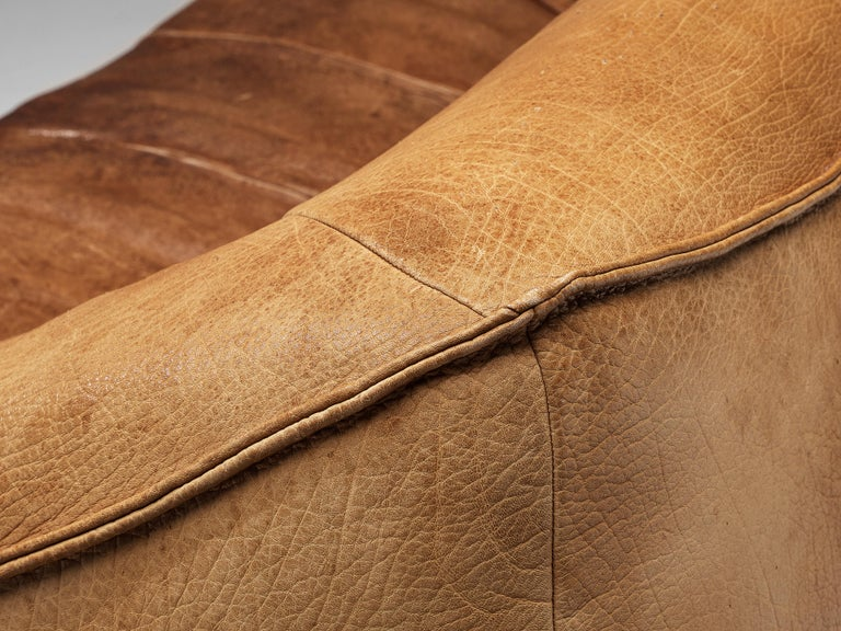 Gerard Van Den Berg for Montis 'Ringo' Sofa in Patinated Leather In Good Condition For Sale In Waalwijk, NL