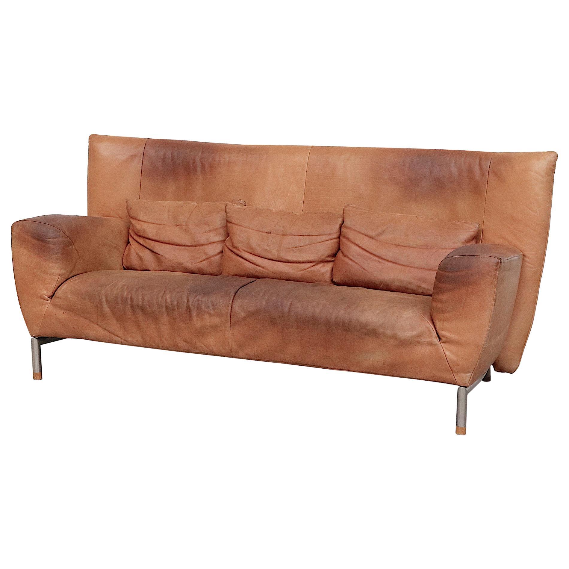 Gerard Van Den Berg High Back Natural Leather Sofa for Montis