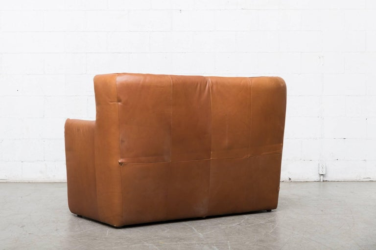 Mid-Century Modern Gerard van den Berg Leather Love Seat For Sale