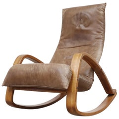 Gerard Van Den Berg Leather Rocking Chair