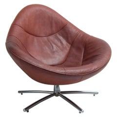 Gerard Van Den Berg Leather Swivel Tear Drop Shaped Lounge Chair