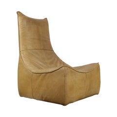 Gerard Van Den Berg Modern Brutalist Rock Chair in Leather, 1970s Montis