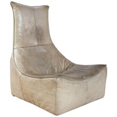 Gerard Van Den Berg Modern Brutalist Rock Chair in Taupe Leather, 1970s Montis