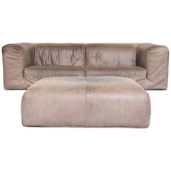 Gerard Van Den Berg Soft Form Leather Sofa and Ottoman