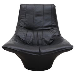 Gerard van den Berg Style Black Leather Lounge Chair