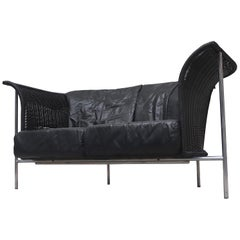 Gerard van den Berg Style Wing Back Black Rattan Loveseat Sofa