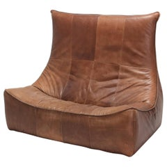 Gerard van den Berg 'The Rock' Patinated Brown Leather Sofa for Montis I
