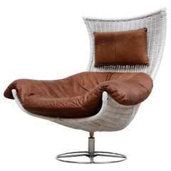 Gerard van den Berg White Rattan and Leather Lounge Chair