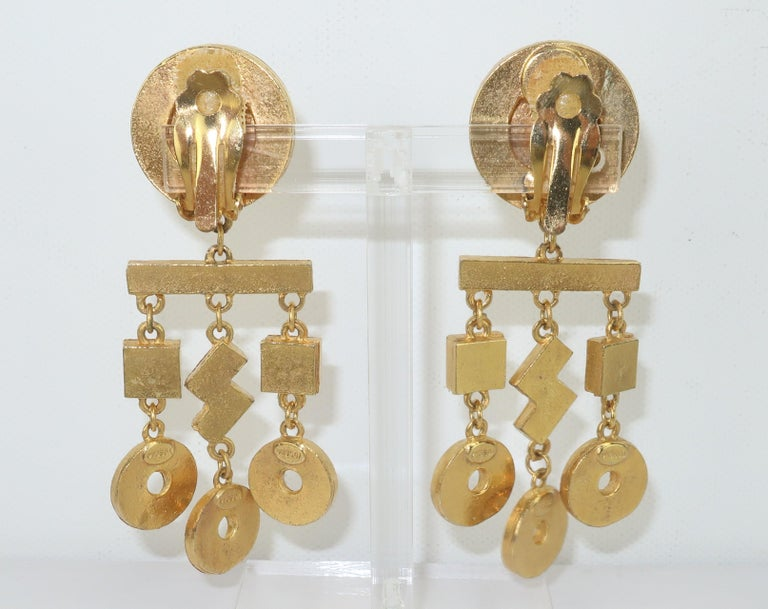 Gerard Yosca Art Deco Revival Gold & Rhinestone Earrings In Good Condition For Sale In Atlanta, GA