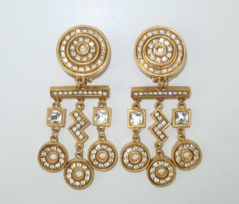 Women's Gerard Yosca Art Deco Revival Gold & Rhinestone Earrings For Sale