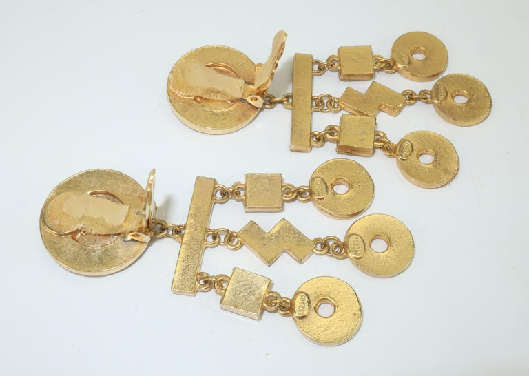Gerard Yosca Art Deco Revival Gold & Rhinestone Earrings For Sale 2