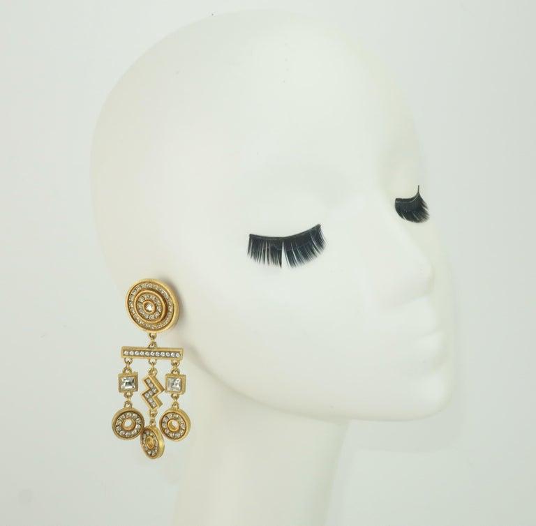 Gerard Yosca Art Deco Revival Gold & Rhinestone Earrings For Sale 4
