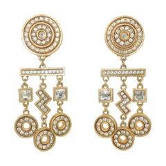 Gerard Yosca Art Deco Revival Gold & Rhinestone Earrings